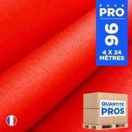 4 chemins de table en intissé rouge 24 mètres.