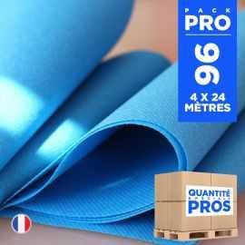 4 chemins de table en intissé bleu canard 24 mètres.