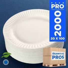 2000 Assiettes carton 15 cm biodégradables blanches.