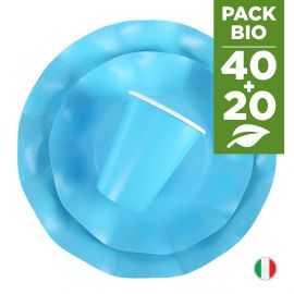 Pack turquoise 100% Bio. 40 assiettes + 20 gobelets biodégradables et compostables.