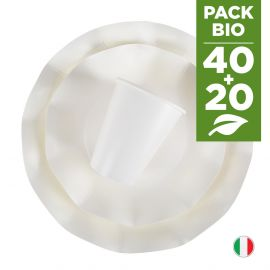 Pack blanc 100% Bio 40 assiettes + 20 gobelets biodégradables et compostables.