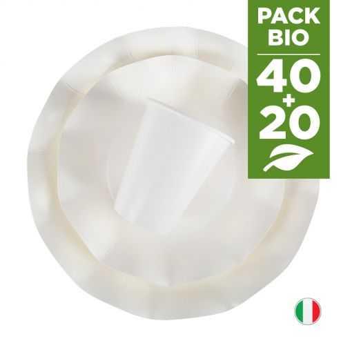 Pack blanc 100% Bio 40 assiettes + 20 gobelets biodégradables et compostables.