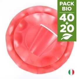 Pack rouge 100% Bio 40 assiettes + 20 gobelets biodégradables et compostables.