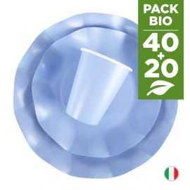 Pack bleu 100% Bio. 40 assiettes + 20 gobelets biodégradables et compostables.
