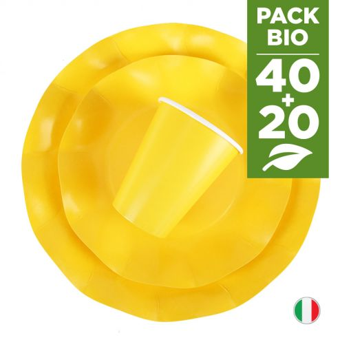 Pack jaune 100% Bio. 40 assiettes + 20 gobelets biodégradables et compostables.