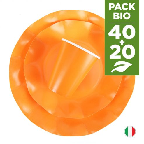 Pack orange 100% Bio 40 assiettes + 20 gobelets biodégradables et compostables