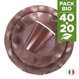 Pack chocolat 100% Bio 40 assiettes + 20 gobelets biodégradables et compostables.