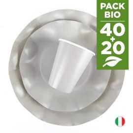 Pack gris 100% Bio. 40 assiettes + 20 gobelets biodégradables et compostables.