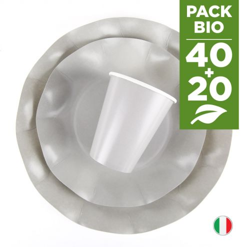Pack gris 100% Bio. 40 assiettes + 20 gobelets biodégradables et compostables.
