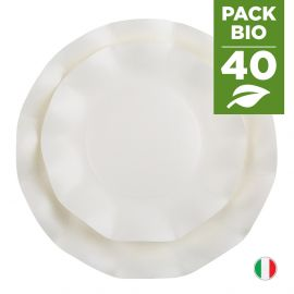 Pack 40 assiettes blanches 100% bio et compostables 21 et 27 cm