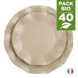 Pack 40 assiettes taupe 100% Bio et compostables 21 et 27 cm