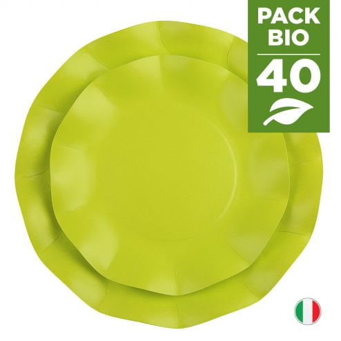 Pack 40 assiettes vertes 100% Bio et compostables 21 et 27 cm