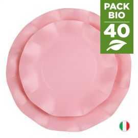 Pack 40 assiettes roses 100% Bio et compostables 21 et 27 cm