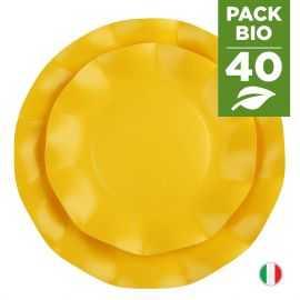 Pack 40 assiettes jaunes 100% Bio et compostables 21 et 27 cm