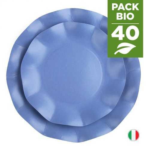 Pack 40 assiettes bleues 100% Bio et compostables 21 et 27 cm
