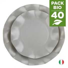 Pack 40 assiettes grises 100% Bio et compostables 21 et 27 cm