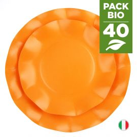 Pack 40 assiettes orange 100% Bio et compostables 21et 27 cm