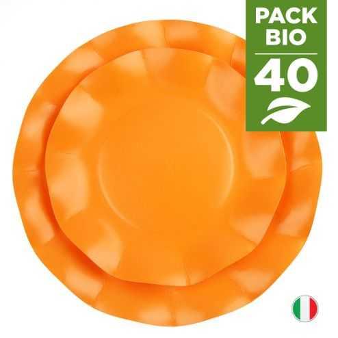 Pack 40 assiettes orange 100% Bio et compostables 21et 27 cm