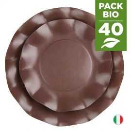 Pack 40 assiettes chocolat 100% Bio et compostables 21 et 27 cm