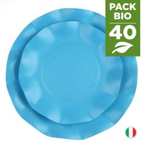 Pack 40 assiettes turquoise 100% Bio et compostables 21 et 27 cm