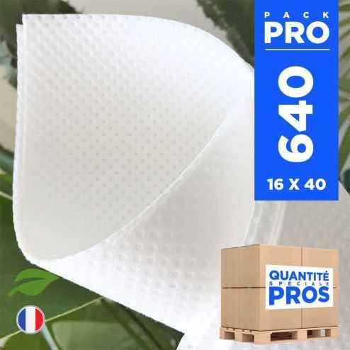 640 Serviettes 40 x 40cm Biodégradables blanches.