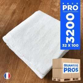 3200 Serviettes 29 cm x 29 cm blanches. Ouate 1 pli.