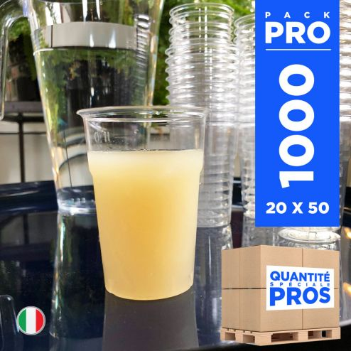 1000 Gobelets PS cristal. Recyclables. 12 cl.