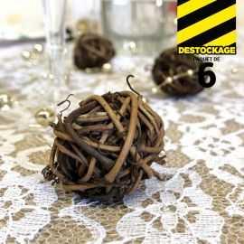 Boules décoration rotin naturel chocolat 3 cm. Par 6.