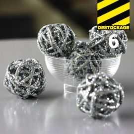 Mini-boules argent en rotin. 3 cm.