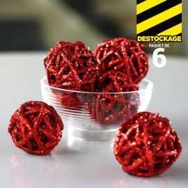 Mini-boules rouges en rotin. 3 cm.