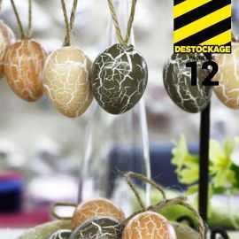 Oeufs décoration craquelés bruns 4 cm
