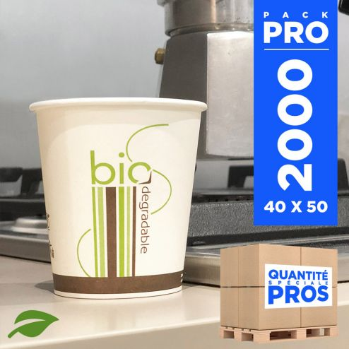 2000 Gobelets carton + PLA 18 cl. Biodégradables, compostables.