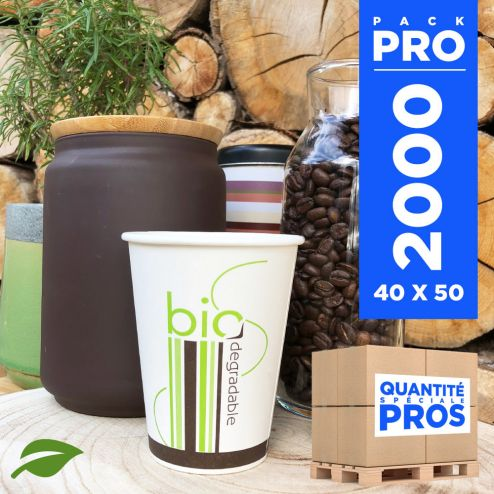 2000 Gobelets carton + PLA 10 cl. Biodégradables, compostables.