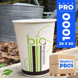 1000 Gobelets carton + PLA 24 cl. Biodégradables, compostables.