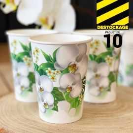10 Gobelets carton 25 cl Décor orchidée blanc