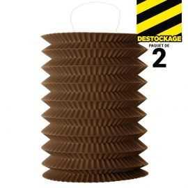2 Lampions accordéon chocolat 18 cm.