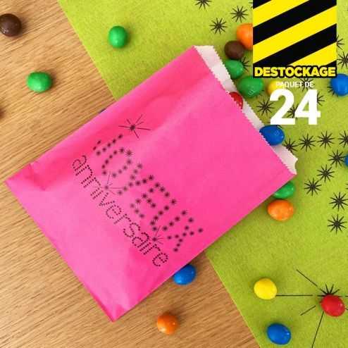 24 Sacs papier à bonbons anniversaire fuchsia.