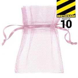 10 Sachets en tulle avec ruban rose