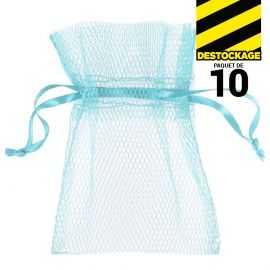 10 Sachets en tulle avec ruban bleu clair
