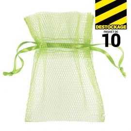 10 Sachets en tulle ave ruban vert