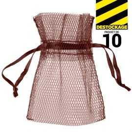 10 Sachets en tulle avec ruban chocolat