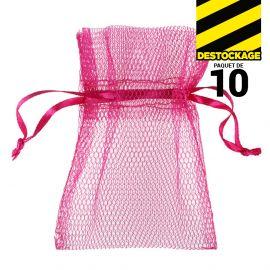 10 Sachets en tulle avec ruban fuchsia