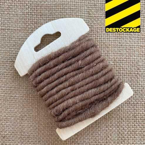 Cordon en laine déco chocolat 3 mètres