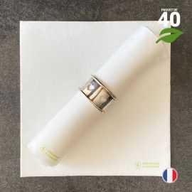 Serviettes en tissu-ouate blanches Biodégradables et compostables 40cm x 40cm Par 40