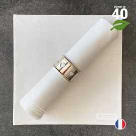 Serviettes en tissu-ouate beige Biodégradables et compostables 40cm x 40cm Par 40