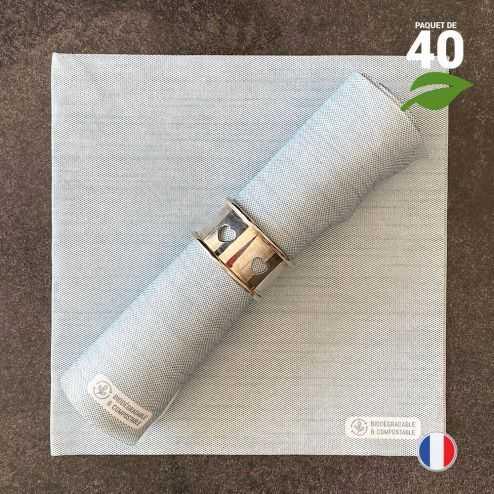 Serviettes en tissu-ouate bleu orage Biodégradables et compostables 40cm x 40cm Par 40