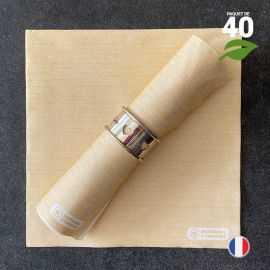 Serviettes en tissu-ouate curry Biodégradables et compostables 40cm x 40cm Par 40
