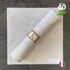 Serviettes en tissu-ouate grises Biodégradables et compostables 40cm x 40cm Par 40