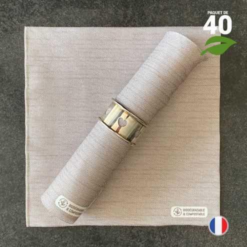 Serviettes en tissu-ouate chataigne Biodégradables et compostables 40cm x 40cm Par 40