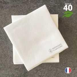 Serviettes en tissu-ouate blanches Biodégradables et compostables 20cm x 20cm Par 40